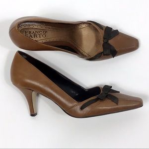 Franco Sarto Brown Sz 7.5M Cognac Leather Heels